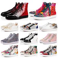 ingrosso scarpe da skate di camoscio-red bottom pantaloni rossi Chaussures designer di lusso uomo donna scarpe moda spike sneakers nero bianco blu pelle scamosciata Graffiti scarpe casual 36-47