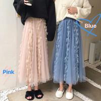 bahar giyim koreası toptan satış-2 Renkler Ulzzang Kore Kore Kadınlar Moda Giyim İlkbahar Yüksek Bel şifon Püsküller Parlak Mavi Pembe Etekler