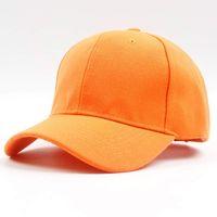 chapéus de beisebol azuis alaranjados venda por atacado-Homens Mulheres 6 Painel Plain Boné de Beisebol Ajustável Sólida Sarja Chapéus Laranja Vermelho Azul Preto Cinza Marrom