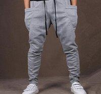 pantalon de danse homme achat en gros de--Fashion Men Bandana Pants Haute qualité Baggy Tapered Hip Hop Danse Harem Pantalons de survêtement Drop Crotch Pantalon Homme Parkour Pantalon Sport