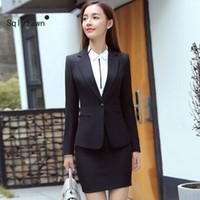 frauen tuxedos großhandel-Benutzerdefinierte schwarze Womens elegante Anzüge weibliche Büro Uniform Damen Hose passt formale Womens Smoking 2 Stück Set Blazer