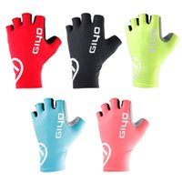 Wholesale black yellow bicycle gloves resale online - Breaking Wind Cycling Half Finger Gloves Anti slip Bicycle Lycra Fabric Mittens MTB Gloves Racing Road Bike Glove LJJZ121