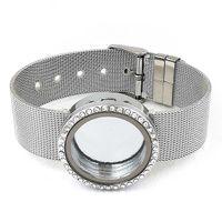 ingrosso vetro in cristallo contagocce in acciaio inox galleggiante-5PCS 30mm Argento magnetico vetro flottante braccialetto braccialetto bracciale in acciaio inox senza CharmsLSLB08-18