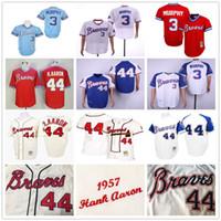 cesur beyzbol toptan satış-Vintage Atlanta 44 Hank Aaron H. Aaron Braves 3 Dale Murphy 1957 1963 1973 1974 1982 Beyzbol Formaları
