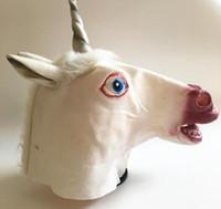 máscara de cabeza unicornio espeluznante al por mayor-Máscara de unicornio 3D Unicornio Caballo Máscara de látex fiesta de disfraces Cosplay Prop caucho cabeza espeluznante cabeza completa máscara