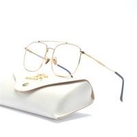 big framed glasses retro großhandel-zweistrahlige Metall Retro Rahmen Brille Trend Flachspiegel Unisex Brille Rahmen Markendesigner Herren Myopie Optik große optische FML
