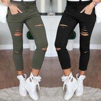 jeans mais sexy venda por atacado-Calças Skinny Mulheres Sexy Buraco Na Altura Do Joelho Lápis Calça Senhora Cintura Alta Legging Magro Calças Trecho Rasgado Jeans Plus Size 4xl
