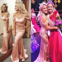 saia rosa vestidos venda por atacado-Bela rosa vestidos de noite de ouro Longo Spaghetti Mangas Frisadas Formal Miss EUA pageant Prom vestidos formais Elegante Personalizado ocasião especial