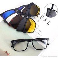 clips polyvalents achat en gros de-Clip magnétique de lunettes de soleil de mode 5 Lenes Clip magnétique sur les lunettes de soleil pour hommes Clips polarisés pour lunettes de myopie à usages multiples