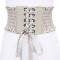 cinch cinto corset venda por atacado-Womens vintage Wide Elastic Cinto Lace-up Cinch Tie Cinch Cinto de Couro Ajustável Corset Cummerbund Preto