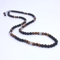 onyx steine perlen halsketten großhandel-Herren Halskette Lavastein und Onyx Energie Perlen Halskette Steinperle mit uraltem Silber Metall Steampunk Schmuck