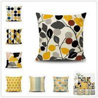 Wholesale linen pillow stripe for sale - Group buy INS Nordic style pillowcase styles leaves stripe geometric latticesofa cushion cover Linen fiber pillow case