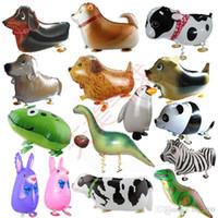 suministros para globos al por mayor-Caminar Mascota Animal Helio Papel de Aluminio Globo Sellado Automático Niños Baloon Juguetes Regalo Para Navidad Boda Suministros Fiesta de Cumpleaños