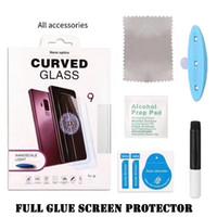 ingrosso imballaggio liquido-Protezione dello schermo in vetro temperato curvo 3D UV NANO Full Cover UV per Samsung Galaxy S10 E S9 Plus S8 Nota 10 10+ 9 8 Con pacchetto