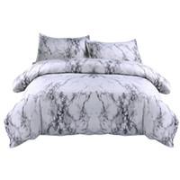 ingrosso cuscino della piastra di quilt-Sheet + 2Pillowcase Simple Marble Bedding Copripiumino Set Copripiumino Twin King Size Con Federa Set biancheria da letto grigio New F22