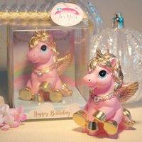 bebek kremi toptan satış-Karikatür Unicorn Doğum Mumlar Bebek Partisi Kek Mumlar Unicorn Parti Diy Kek Dekorasyon Ev Dekorasyonu Duş