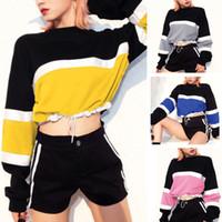 ingrosso disegni coreani di top di moda-Felpa di design retrò Donna Harajuku Streetwear Design Felpe con cappuccio Colore Crop Top Donna Moda Abiti coreani