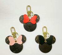 Wholesale couples bag for sale - Group buy New luxury keychain designed by top designers high quality leather cartoon Mickey keychain couple gift woman bag pendant car key pendant
