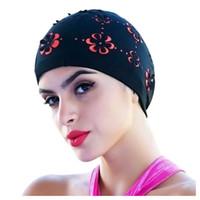 touca de natação vermelha venda por atacado-New Womens Retro Verão Natação Cap Flor Floral Oco Chapéu de Banho Preto / rosa vermelho