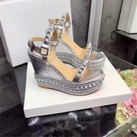 Wholesale silver wedge dress shoes women resale online - luxury designer Classic Sandals Lady Summer Designer s Luxury dsigner Brand Sandals large size elegant wedge women s shoes