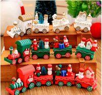 batteriebetriebene weihnachtsspielzeug großhandel-Heiße neue Holz Weihnachten Weihnachten Zug Dekoration Dekor Geschenk Mini Weihnachten Zug Holz Zug Modell Fahrzeug Spielzeug für Kinder c289