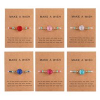 Wholesale rice bracelets for sale - Group buy Handmade Druzy Resin Stone Bracelet Make a Wish Card Wax Rope Braided Bracelets Bangles With Rice Bead for Women Girls Summer Beach Jewelry