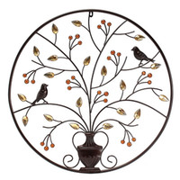 árvore de ornamento de ferro venda por atacado-Kiwarm Vintageblack Pássaros Árvore de Ferro De Metal Escultura Ornamento Para Casa Sala de Parede Pendurado Decoração Arte Artesanato Presente 62 cm / 24.4 polegadas J190712