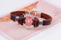 enviar joyas de timón al por mayor-Nave diseñador coreano partido de la joyería de la aleación pulsera para hombre de la joyería del encanto del timón pulsera de cuero de moda retro pulseras para mujer del amor para unisex