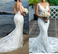 Wholesale champagne dress train resale online - Sexy Deep V Neck Mermaid Wedding Dresses Full Lace Appliques Backless Tulle Long Wedding Bridal Gowns Arabic Vintage Wedding Gowns BC2144