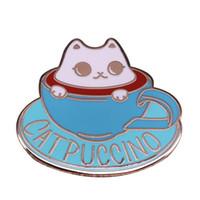 ingrosso pin divertente-Spilla da cappuccino simpatico gatto coppa spilla caffè tossicodipendente divertente collezione di amanti dei gioielli di giochi di parole