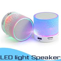 bluetooth müzik sesi toptan satış-LED Taşınabilir A9 Mini Bluetooth Hoparlör Kablosuz Akıllı Eller Serbest Hoparlör MP3 Ses Müzik Çalar Destek SD Kart Subwoofer Hoparlörler