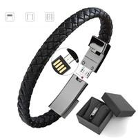 câble en cuir achat en gros de-Câble de chargeur de téléphone de bande de sport en cuir PU avec boîte-cadeau pour iPhone Android Type-C chargeur de téléphone portable 059