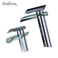 водопад тщеславие краны  оптовых- Bathroom Basin Faucet Waterfall Spout Glass Faucet Countertop Vanity Sink Mixer Tap Washing Cold Hot Water