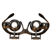 regarder les lunettes de réparation grossir achat en gros de-Professionnel 20x Tête Loupe Double LED Lumières Lunettes Bijoutier Loupe Montre Réparation Loupe Outil Noir