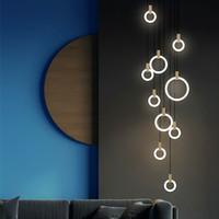Wholesale pendant stair lamp resale online - Modern LED chandelier nordic living room pendant lamp bedroom fixtures stair lighting loft illumination long hanging lights