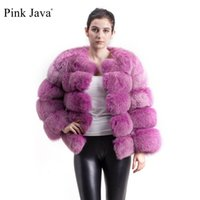 Wholesale yellow color outfits for sale - Group buy pink java QC8081 new model women real fox fur coat long sleeves winter fashion fur outfit high quality Y190916