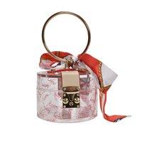 Wholesale skull shaped glitter resale online - Women Fashion Mini Handbag Metal Handle Case Shape Acrylic Clutch Bag With Scraf Ladies Party Bag Female Chain Crossbody Bag