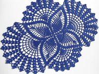 handgefertigte häkeltücher großhandel-1PCS Handmade Crochet Deckchen, dunkelblau, ovale Deckchen, Spitze, Größe -17 Zoll (43 cm) und 13 Zoll (33 cm) Wohnkultur