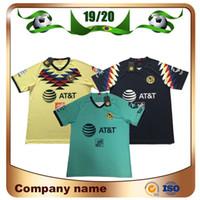 uniformes de football américain achat en gros de-2019 LIGA MX Club Maillots de football 19/20 America team 10 # C.DOMINGUEZ 24 # O.PERALTA 22 # P.AGUILAR Uniformes