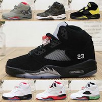 tenis basketbolu toptan satış-Nike Air Jordan 5 Jumpman 5 s retro satılık basketbol ayakkabı mens Beyaz Siyah Mor Üzüm Bel Sup Camo Kırmızı Ucuz aj5 hava uçuşlar sneakers tenis J5
