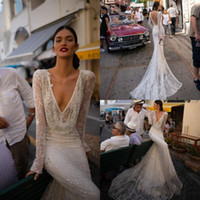 ingrosso abiti da sposa corsetto in paillettes-Sexy Ivory Inbal Dror Illusion Corpetto 2019 Abito da sposa con scollo a V Sequined Lace Mermaid Abiti da sposa Maniche lunghe Backless Beach Custom
