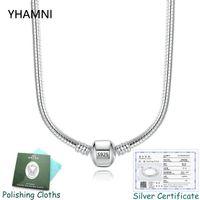 collar de cadena de serpiente mujer al por mayor-Tener Certificado! 925 de 3 mm Charms serpiente hueso sólido real collar de cadena Collar original Pandora Charm 100% para mujeres de 45/50/55/60 CM