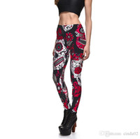 ingrosso gambali del cranio nero-Leggings Hot Sell Womens Skull Flower Black Leggings Pantaloni con stampa digitale Pantaloni Stretch Pants