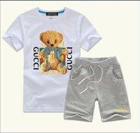 baby-set kleidung jungen groihandel-HEIßER VERKAUF Neue Mode Bekleidung Luxus Logo Designer COCO Jungen Und Mädchen Sport Anzug Baby, Kleinkind Kurzarm Kleidung Kinder Set 2-7 T enfants