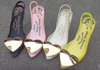 zapatos de gelatina pu melissa al por mayor-2019 Melissa brasileña primavera nuevo doble corazón melocotón mariposa flor pescado boca zapatos de la jalea zapatos de boda buen temperamento