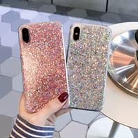 rosa bling telefon fall großhandel-Luxus designer handarbeit bling glitter sparkly weiche silikon telefon case abdeckung für iphone xr xs max 8 7 6 s plus silber rosa fällen