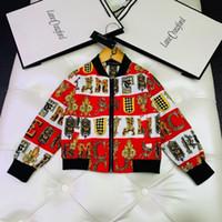 Wholesale preppy clothing patterns resale online - Boy jacket kids designer clothing autumn cotton fabric cardigan jacket zipper closed two color retro pattern element design