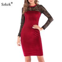 ropa de fiesta roja para mujer al por mayor-Szkzk Sexy Vestido de Terciopelo de Encaje Negro Mujer Nuevo 2019 Primavera Vestidos Ropa Casual Rojo Verde Midi Bodycon Partido vestidos de mujer