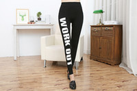 Wholesale yoga pants work out print online - Womens Skinny Pants WORK OUT Letter Print Slim Leggings GYM Pants YOGA High Waist Soft Pants Black Color Fitness Jogger Capris