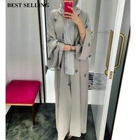 stickentunika großhandel-Muslimische Frauen Stickerei offene Strickjacke Maxi-Kleid Katfan Abaya Dubai Kimono Gebet Service islamische Kleidung lange Robe Tunika Araber